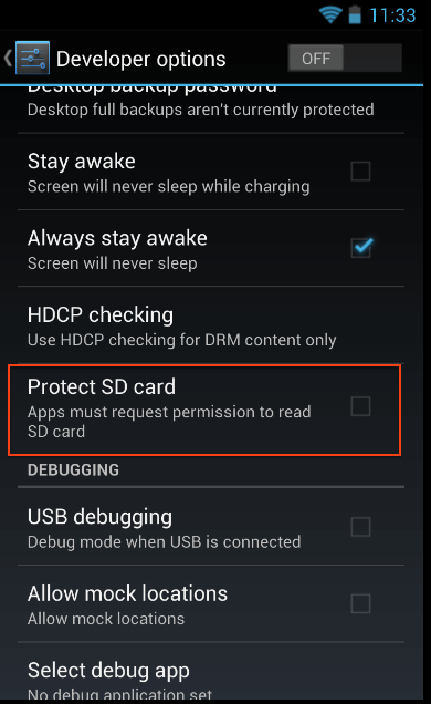 Enforcing permission from Developer options