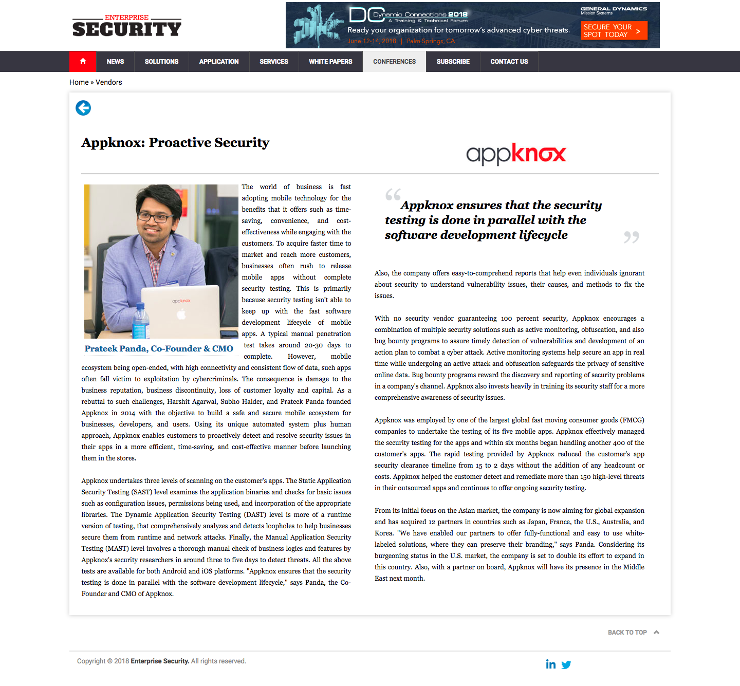 Appknox Wins a Spot in the Top 10 Vulnerability Management Solution Providers of 2018